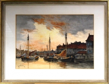 Hermanus KOEKKOEK II (1836-1909) Louis van STATES, View of channel, Rotterdam?