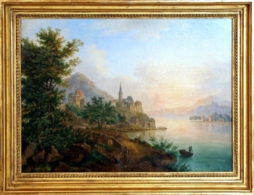 Franz Hochecker (1730-1782), Rhine landscape with a castle, town and church, boats and figures