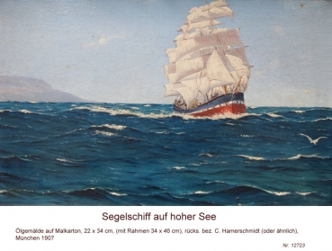 Hamerschmidt, C.?? (around 1907), Sailboat on the High Sea, 1907