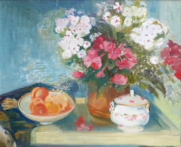 Georg Weidenbacher, Flower still life with sugar bowl and peaches