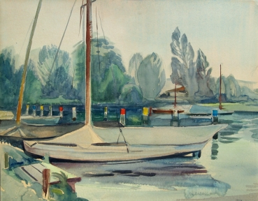Ernst Pflaumer, sailing boat in the marina