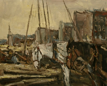 Joles Bickel-Schultheis, harbour, horses in the foreground