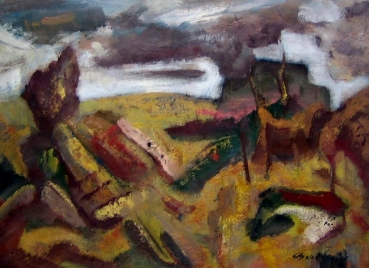 Joles Bickel-Schultheis, abstract landscape, signed. Troffac