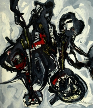 Joles Bickel-Schultheis, Abstract (black and white with red)