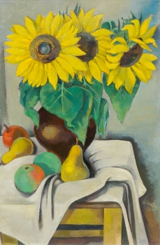 Georg Winter, Still life with sunflowers and fruits