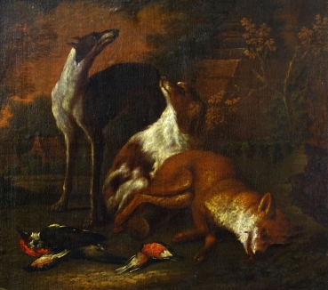 Adriaen Cornelisz. Beeldemaker (atrib.), Hunting dogs with their prey