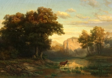 Johannes Beckmann, mountain landscape with deer at the river in the evening light