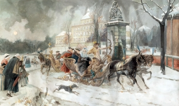 Friedrich Emil Klein, Courtly company on winter sleigh ride in front of the Residenzschloss Ludwigsburg