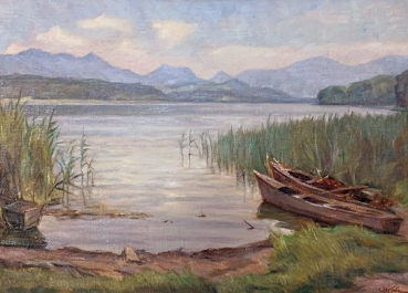 Hans Oertle, Two boats on the shore of the Simssee