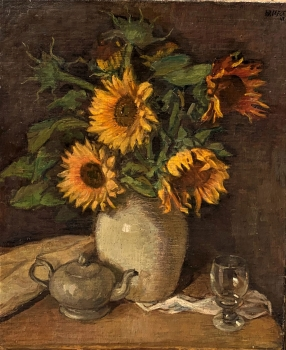 Wolfgang Jaeger, Flower still life with sunflowers
