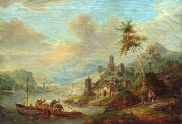 Franz Schuetz, Wide river landscape with city walls and ruins