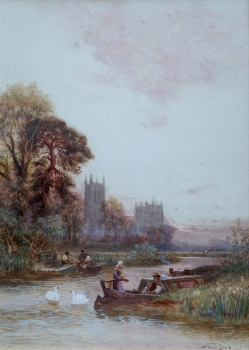 Walter Stuart Lloyd, River Landscape England With Cathedral
