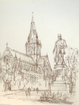 Ludwig Schäfer-Grohe, Glasgow Kathedrale mit David Livingstone Statue