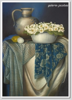 Cornelia Raeder (20th century), country house still life with ceramic mug and violets