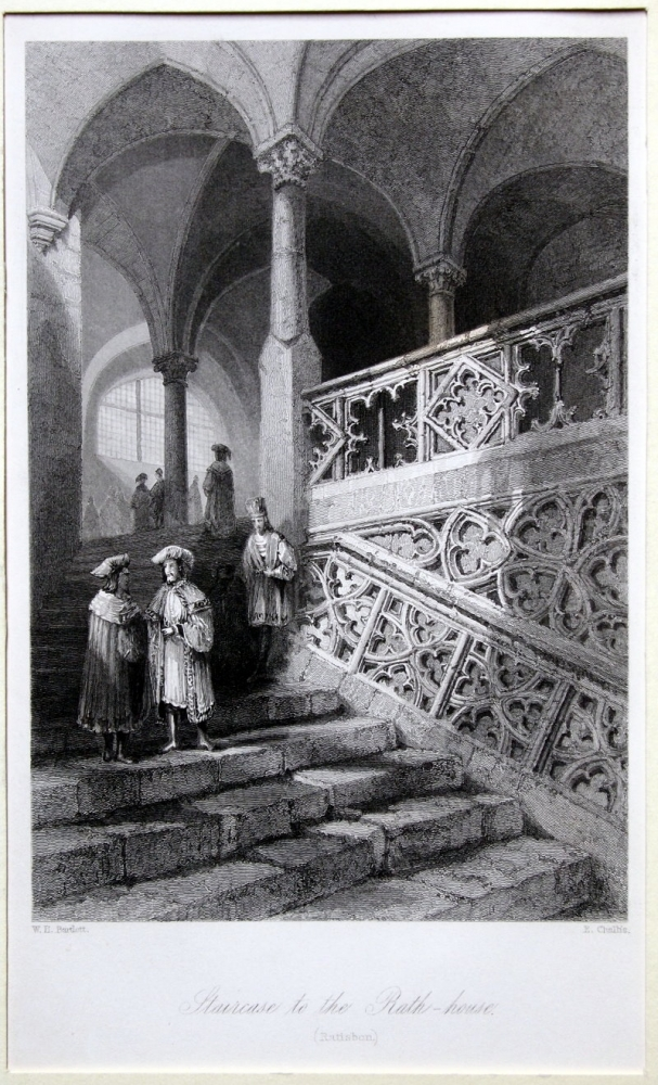 W. H. Barlett (1809-1854)/ E. Challis, Staircase to the Rath-house, Ratisbon