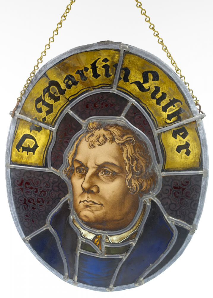 Unsigned, Luther reverse glass painting
