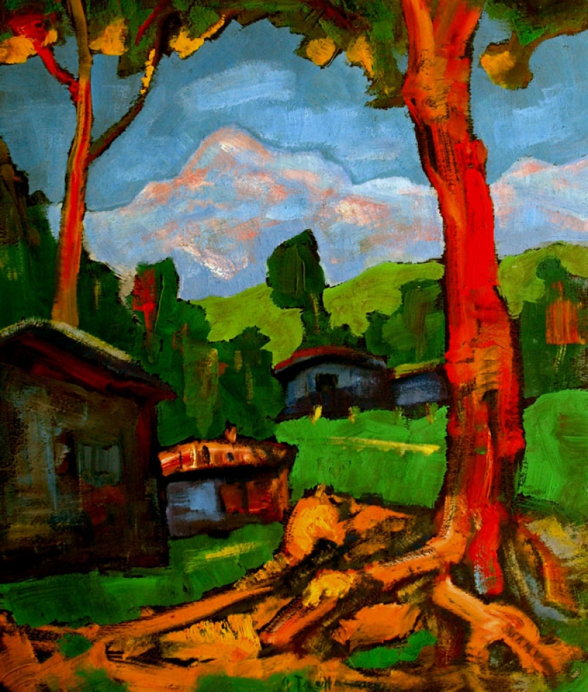 Joles Bickel-Schultheis, landscape with blue houses, signed. Troffac