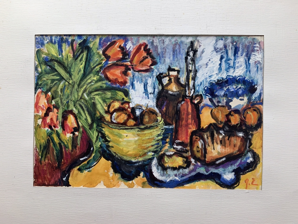 Gudrun Etschel, table still life with flowers and fruit bowl