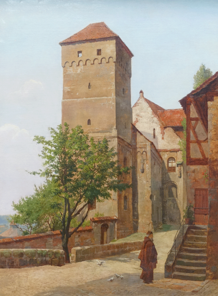 August Fischer, Courtyard of the Nuremberg Castle with heathen tower