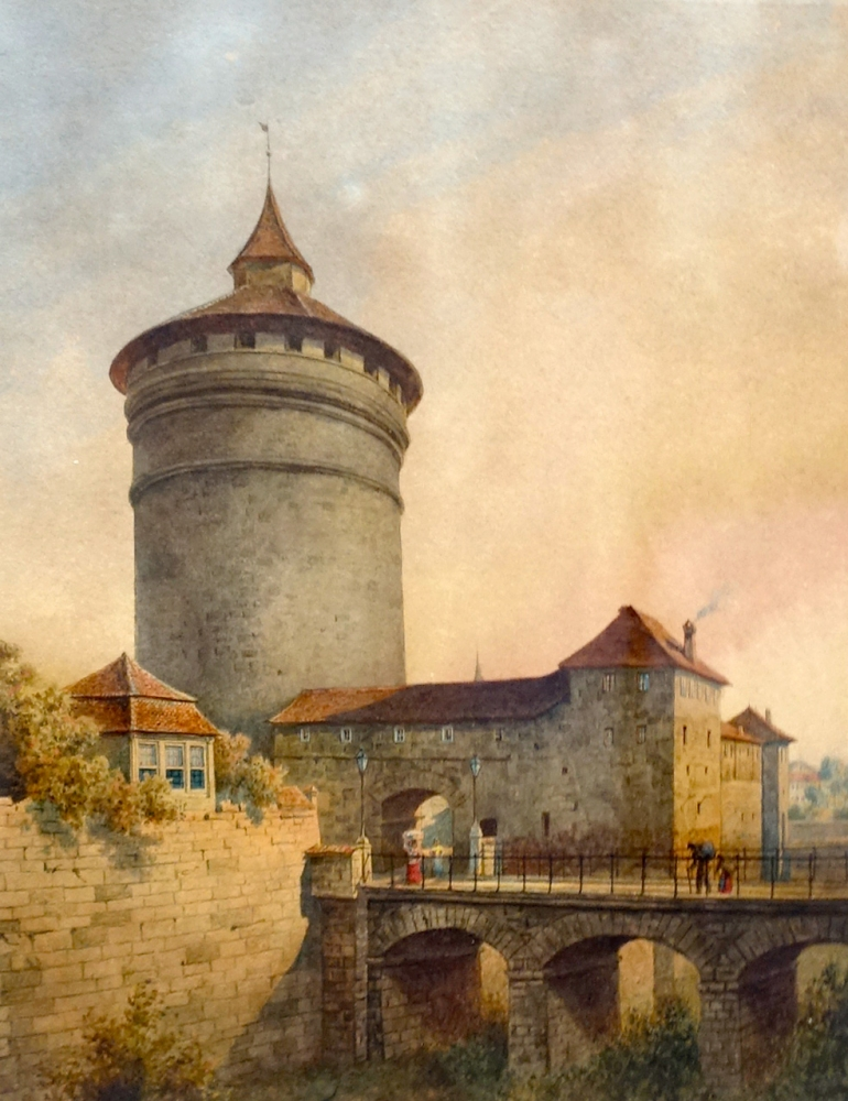 Edmund Krenn, view from the Spittler gate tower and the city wall (Nuremberg)