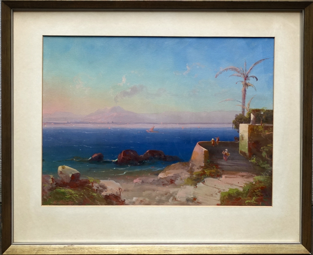 Peter Conrad Schreiber, sea coast with fortress and Vesuvius in the background