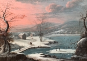 Georg Christoph G. von Bemmel, Winter landscape, river landscape (Kochelsee?) With staffage