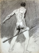 Illegibly signed, Male back nude with stick