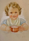Elisabeth Thalmann, Girl at dinner, original watercolor, template for enclosed postcard